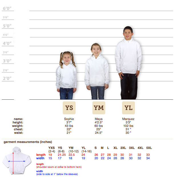 youth t shirt size guide