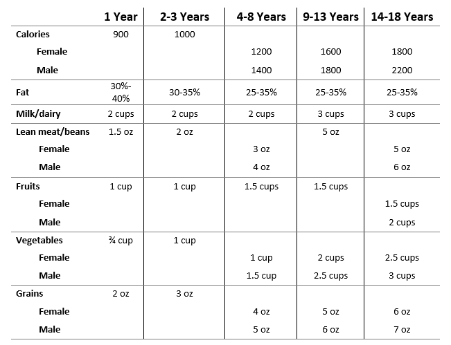 canada food guide servings by age