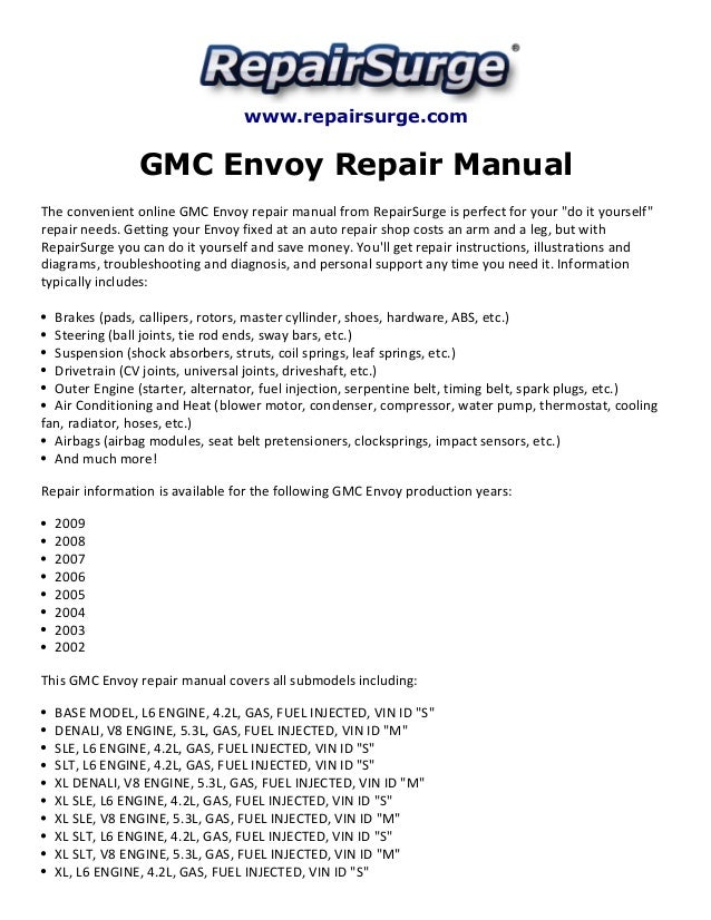 2002 gmc envoy troubleshooting guide